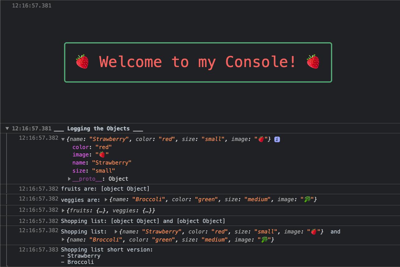 JS Console.log
